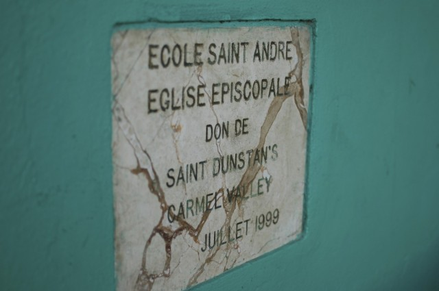Plaque at St. Andre's School.
