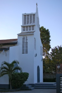 The front of the church, facing the street.